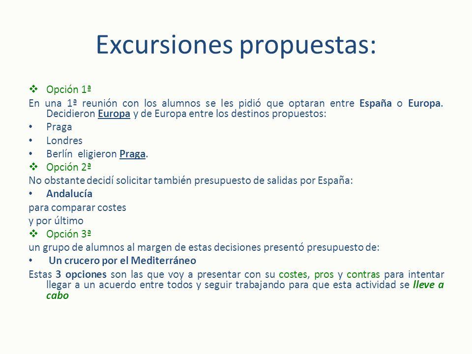 Excursiones propuestas: Opción 1ª En una 1ª reunión con los alumnos se les pidió que optaran entre España o Europa. Decidieron Europa y de Europa entr