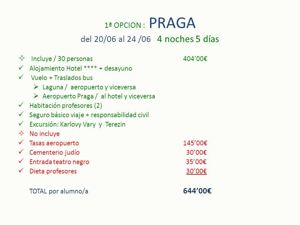 1ª OPCION : PRAGA del 20/06 al 24 /06 4 noches 5 días Incluye / 30 personas40400 Alojamiento Hotel **** + desayuno Vuelo + Traslados bus Laguna / aero
