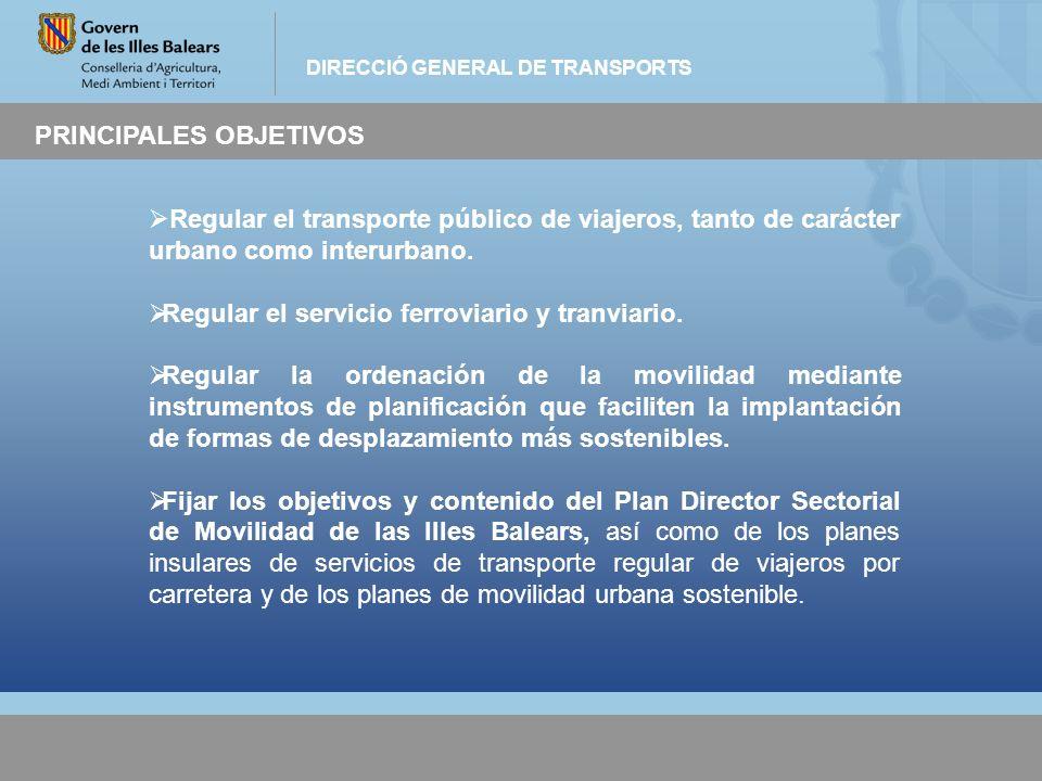 DIRECCIÓ GENERAL DE TRANSPORTS PRINCIPALES OBJETIVOS Regular el transporte público de viajeros, tanto de carácter urbano como interurbano. Regular el