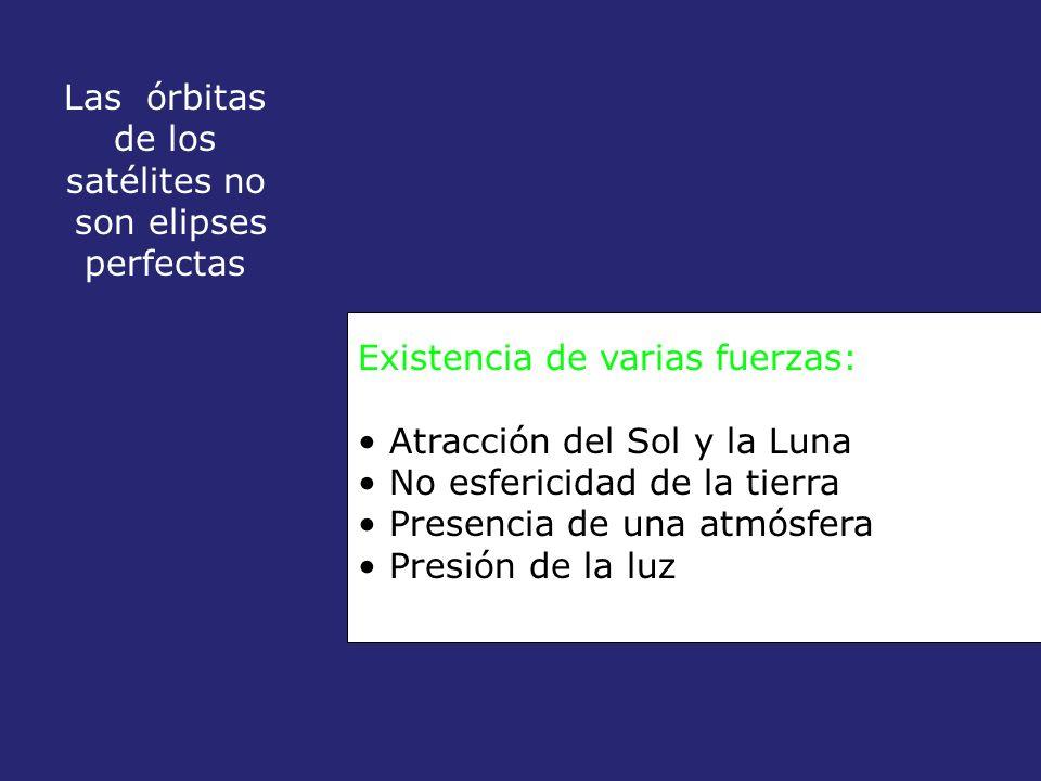 Las órbitas de los satélites no son elipses perfectas Existencia de varias fuerzas: Atracción del Sol y la Luna No esfericidad de la tierra Presencia