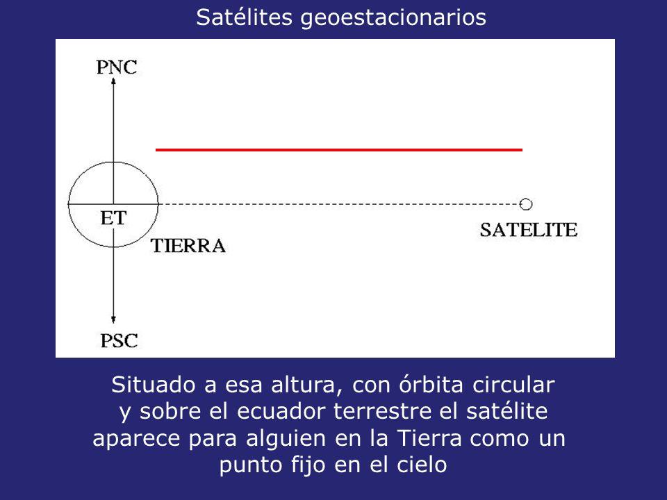 35800 km Situado a esa altura, con órbita circular y sobre el ecuador terrestre el satélite aparece para alguien en la Tierra como un punto fijo en el