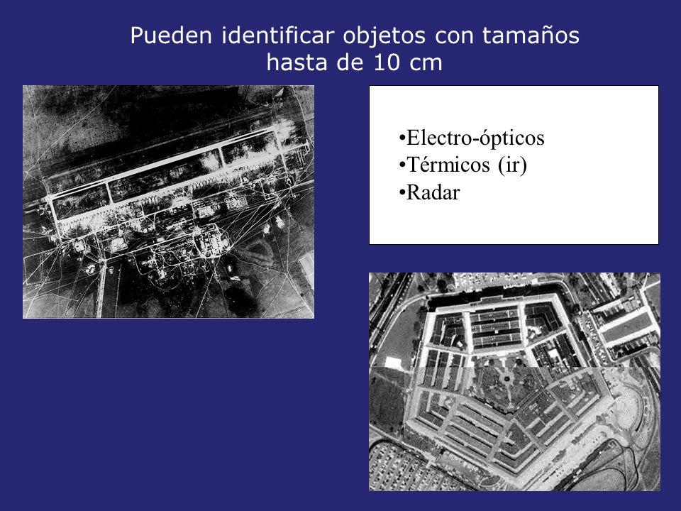 Pueden identificar objetos con tamaños hasta de 10 cm Electro-ópticos Térmicos (ir) Radar