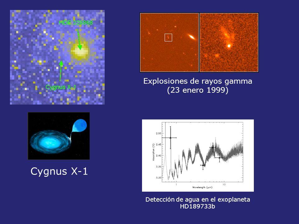 Explosiones de rayos gamma (23 enero 1999) Cygnus X-1 Detección de agua en el exoplaneta HD189733b