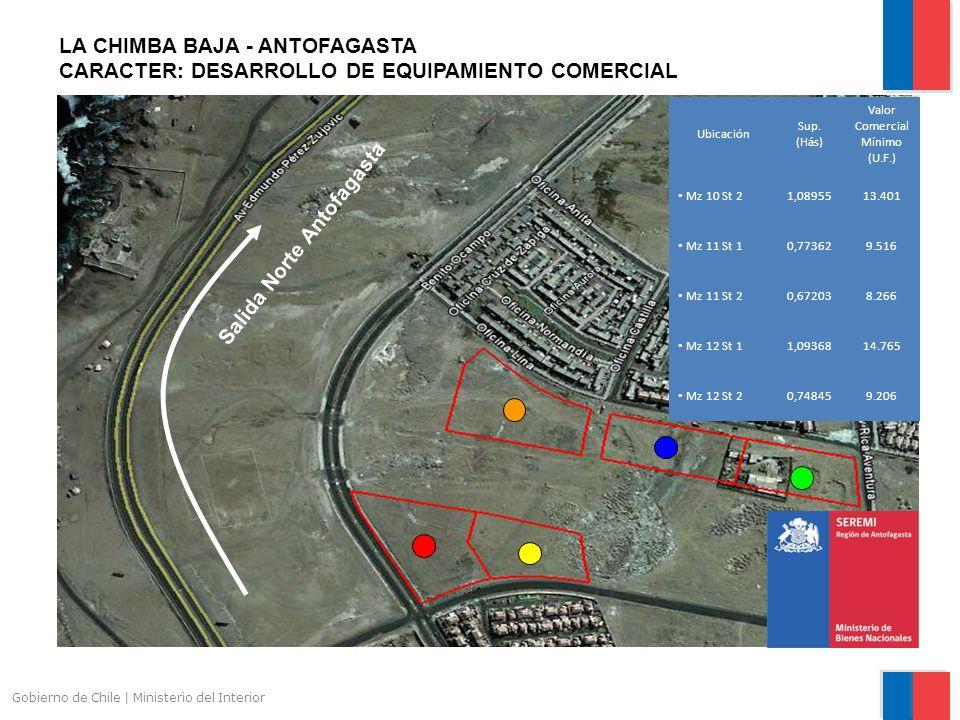 Gobierno de Chile | Ministerio del Interior LA CHIMBA BAJA - ANTOFAGASTA CARACTER: DESARROLLO DE EQUIPAMIENTO COMERCIAL Ubicación Sup.