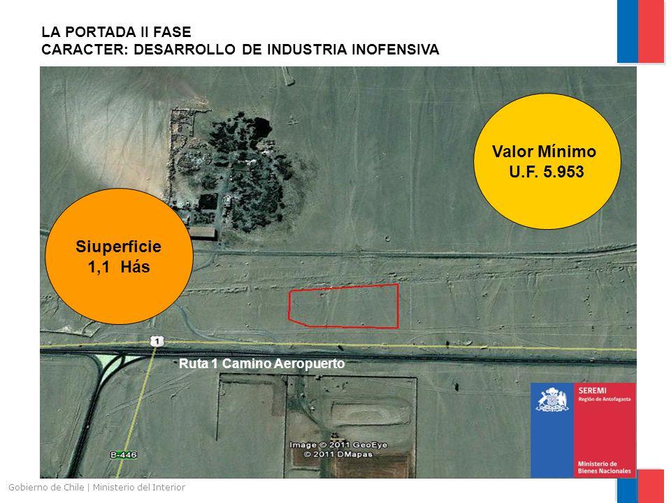 Gobierno de Chile | Ministerio del Interior LA PORTADA II FASE CARACTER: DESARROLLO DE INDUSTRIA INOFENSIVA Siuperficie 1,1 Hás Valor Mínimo U.F. 5.95
