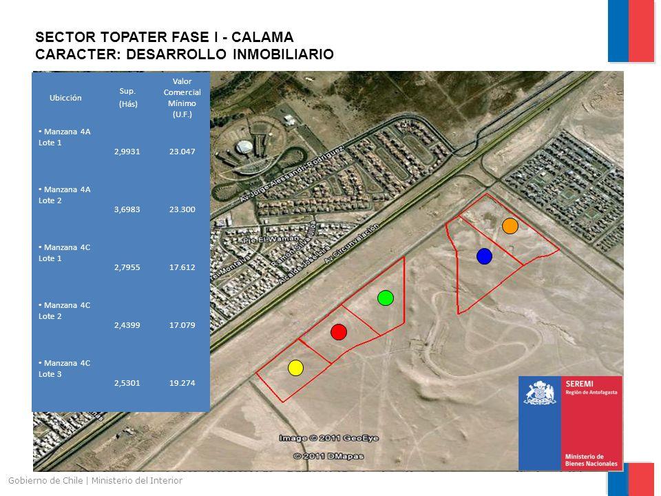 Gobierno de Chile | Ministerio del Interior SECTOR TOPATER FASE I - CALAMA CARACTER: DESARROLLO INMOBILIARIO Ubicción Sup. (Hás) Valor Comercial Mínim