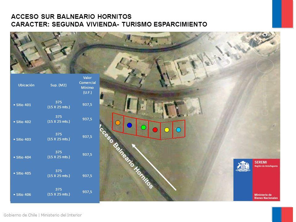 Gobierno de Chile | Ministerio del Interior ACCESO SUR BALNEARIO HORNITOS CARACTER: SEGUNDA VIVIENDA- TURISMO ESPARCIMIENTO Acceso Balneario Hornitos