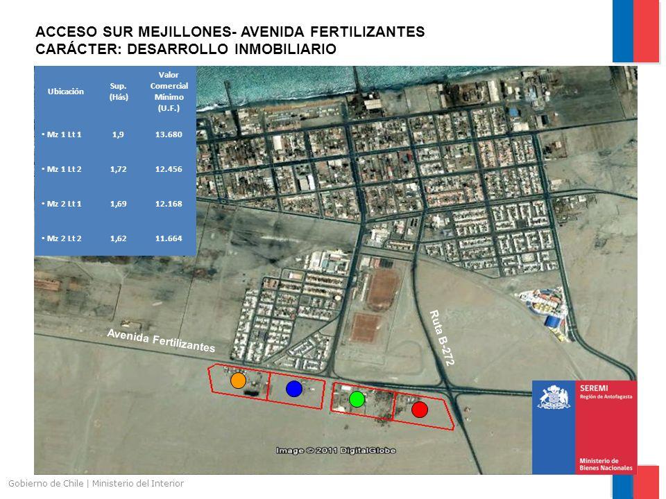 Gobierno de Chile | Ministerio del Interior ACCESO SUR MEJILLONES- AVENIDA FERTILIZANTES CARÁCTER: DESARROLLO INMOBILIARIO Avenida Fertilizantes Ruta