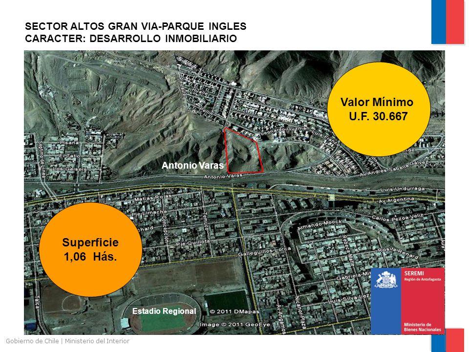 Gobierno de Chile | Ministerio del Interior ANTOFALIA CARACTER: DESARROLLO DE INDUSTRIA INOFENSIVA Ruta 1 Camino Aeropuerto Superficie 2,5 Hás Valor Mínimo U.F.
