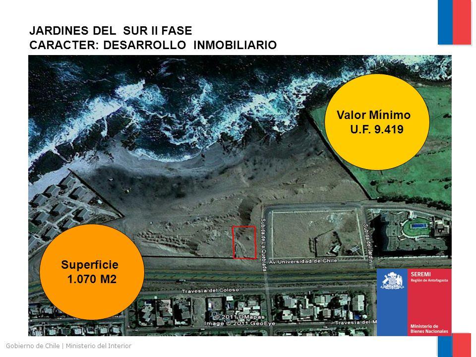 Gobierno de Chile | Ministerio del Interior JARDINES DEL SUR II FASE CARACTER: DESARROLLO INMOBILIARIO Superficie 1.070 M2 Valor Mínimo U.F.