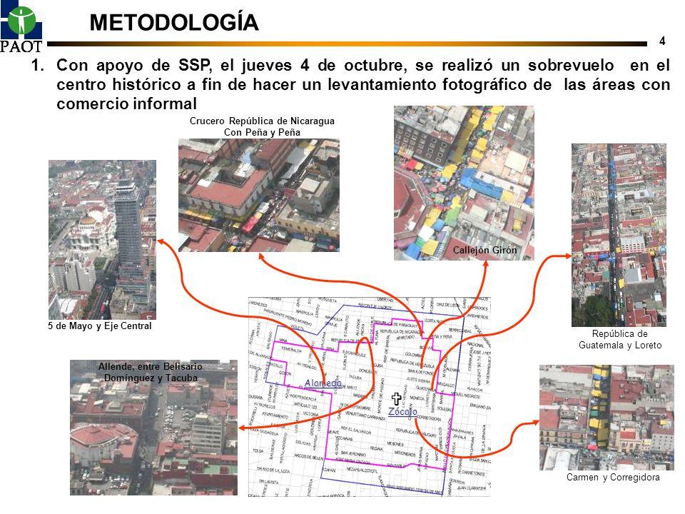 4 METODOLOGÍA 1.Con apoyo de SSP, el jueves 4 de octubre, se realizó un sobrevuelo en el centro histórico a fin de hacer un levantamiento fotográfico