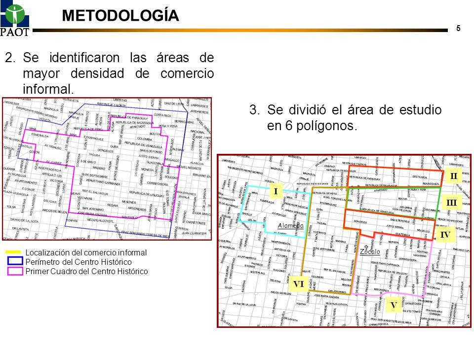 5 Zócalo Alameda 3.Se dividió el área de estudio en 6 polígonos. I II III IV VI V Zócalo Alameda METODOLOGÍA 2.Se identificaron las áreas de mayor den