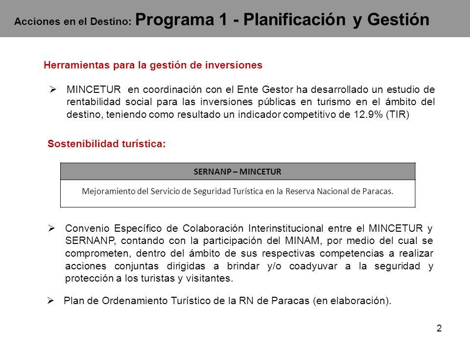 Acciones en el Destino: Programa 1 - Planificación y Gestión MINCETUR en coordinación con el Ente Gestor ha desarrollado un estudio de rentabilidad so