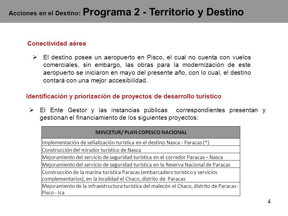 4 Acciones en el Destino: Programa 2 - Territorio y Destino Conectividad aérea El destino posee un aeropuerto en Pisco, el cual no cuenta con vuelos comerciales, sin embargo, las obras para la modernización de este aeropuerto se iniciaron en mayo del presente año, con lo cual, el destino contará con una mejor accesibilidad.