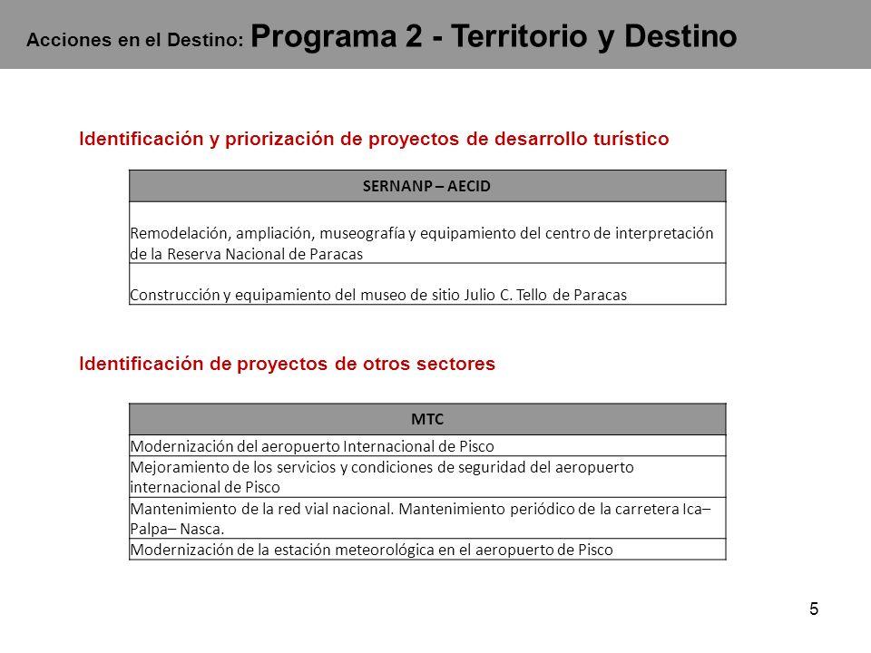 5 Acciones en el Destino: Programa 2 - Territorio y Destino SERNANP – AECID Remodelación, ampliación, museografía y equipamiento del centro de interpretación de la Reserva Nacional de Paracas Construcción y equipamiento del museo de sitio Julio C.