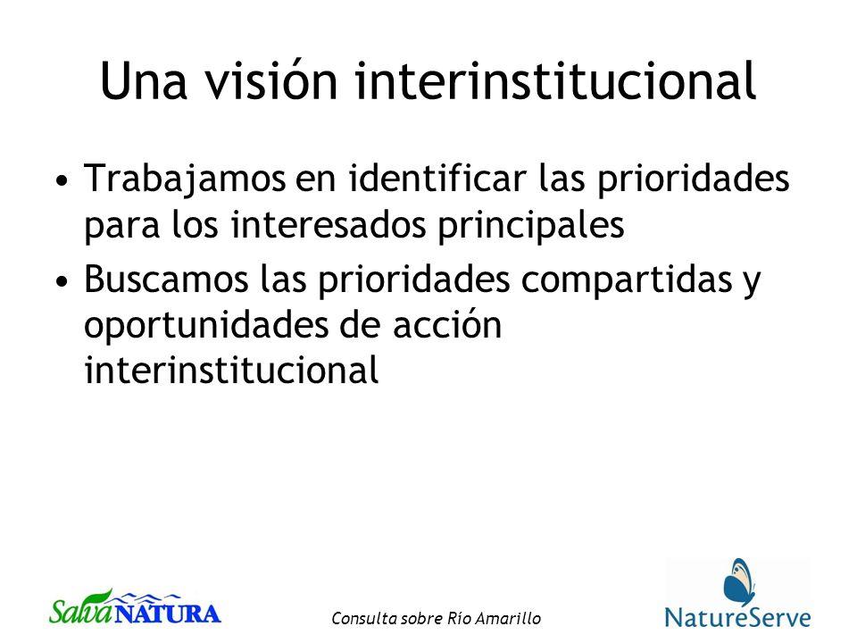 Consulta sobre Río Amarillo Una visión interinstitucional Trabajamos en identificar las prioridades para los interesados principales Buscamos las prioridades compartidas y oportunidades de acción interinstitucional