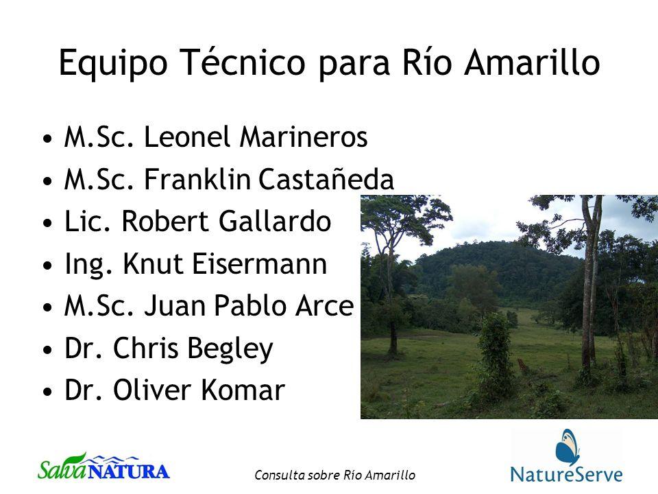 Consulta sobre Río Amarillo Equipo Técnico para Río Amarillo M.Sc.