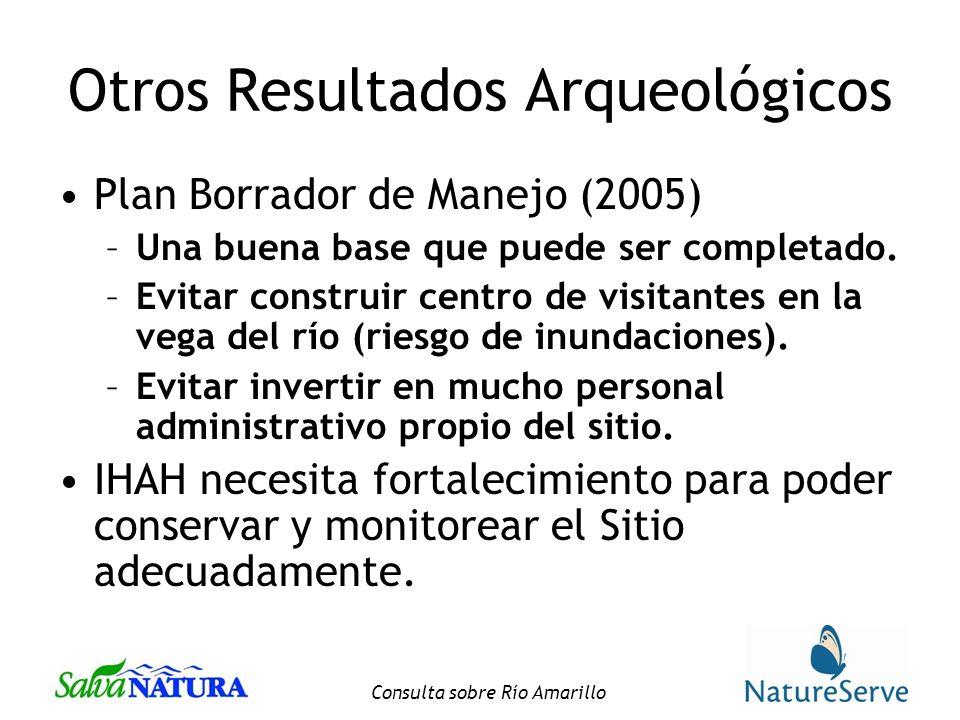 Consulta sobre Río Amarillo Otros Resultados Arqueológicos Plan Borrador de Manejo (2005) –Una buena base que puede ser completado.