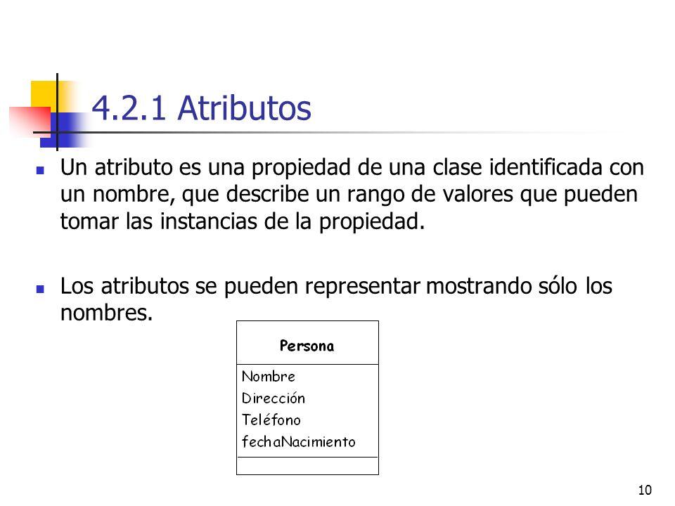 10 4.2.1 Atributos Un atributo es una propiedad de una clase identificada con un nombre, que describe un rango de valores que pueden tomar las instanc