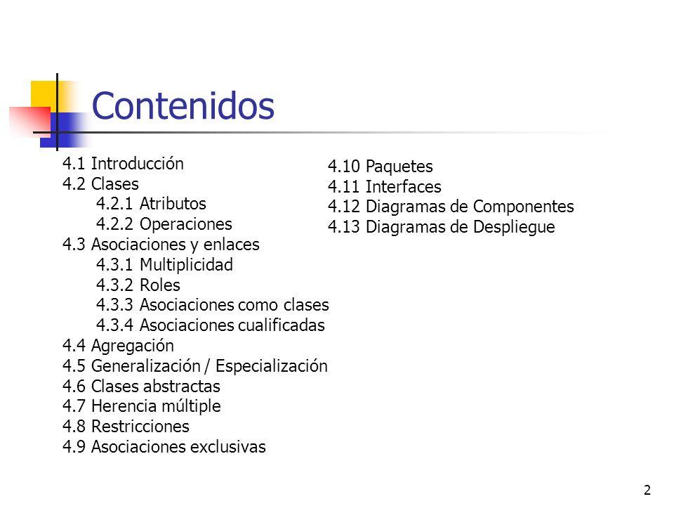 2 Contenidos 4.1 Introducción 4.2 Clases 4.2.1 Atributos 4.2.2 Operaciones 4.3 Asociaciones y enlaces 4.3.1 Multiplicidad 4.3.2 Roles 4.3.3 Asociacion