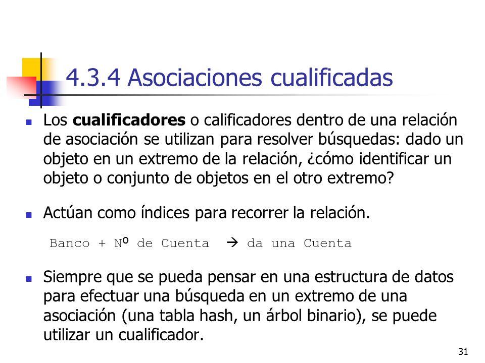 31 4.3.4 Asociaciones cualificadas Los cualificadores o calificadores dentro de una relación de asociación se utilizan para resolver búsquedas: dado u