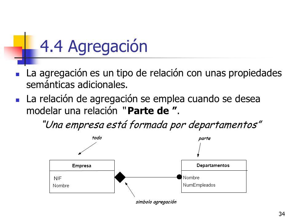 34 4.4 Agregación La agregación es un tipo de relación con unas propiedades semánticas adicionales. La relación de agregación se emplea cuando se dese
