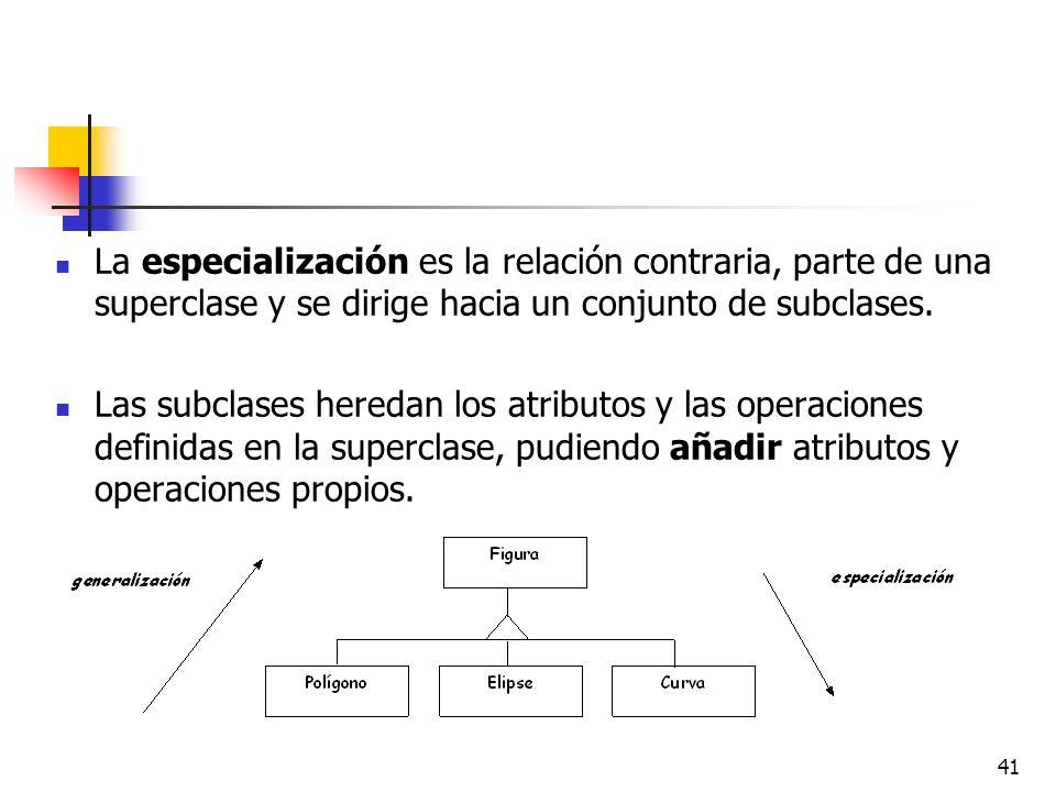 41 La especialización es la relación contraria, parte de una superclase y se dirige hacia un conjunto de subclases. Las subclases heredan los atributo