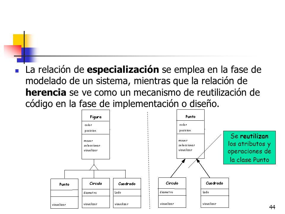 44 La relación de especialización se emplea en la fase de modelado de un sistema, mientras que la relación de herencia se ve como un mecanismo de reut