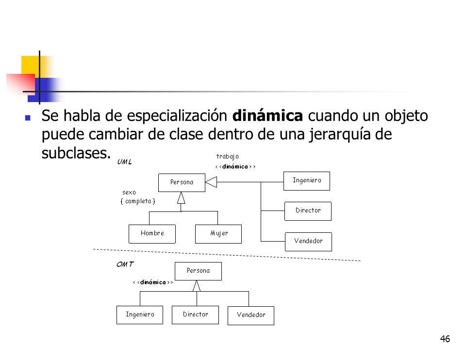 46 Se habla de especialización dinámica cuando un objeto puede cambiar de clase dentro de una jerarquía de subclases.