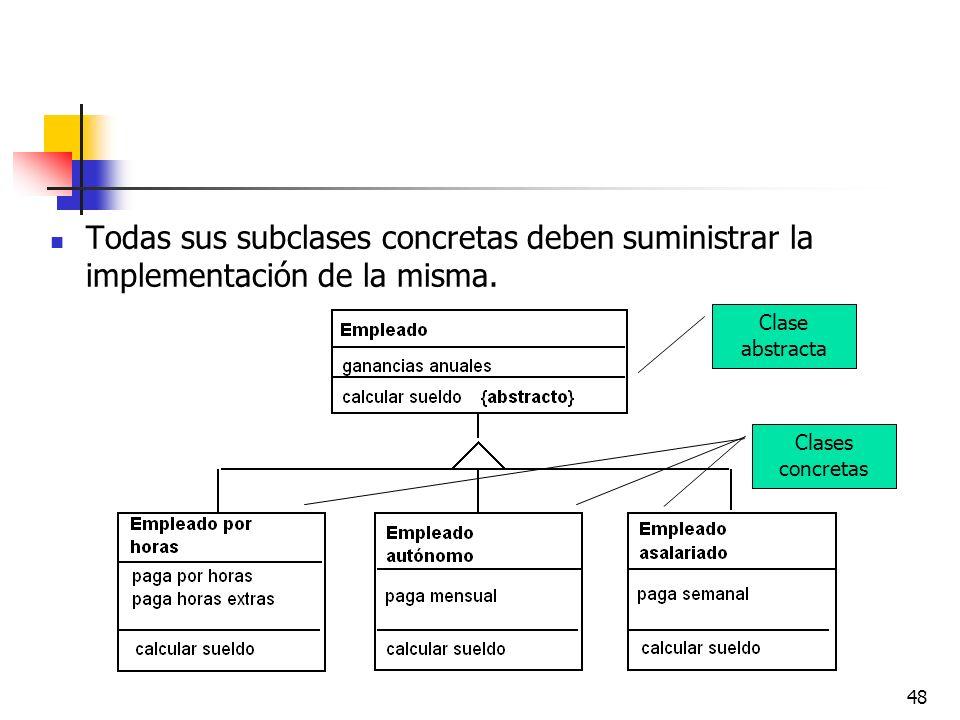 48 Todas sus subclases concretas deben suministrar la implementación de la misma. Clase abstracta Clases concretas
