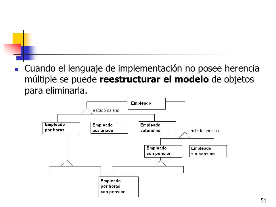 51 Cuando el lenguaje de implementación no posee herencia múltiple se puede reestructurar el modelo de objetos para eliminarla.