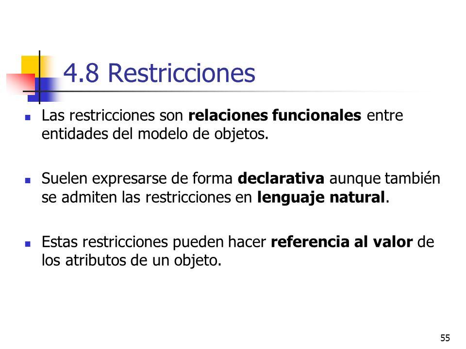 55 4.8 Restricciones Las restricciones son relaciones funcionales entre entidades del modelo de objetos. Suelen expresarse de forma declarativa aunque