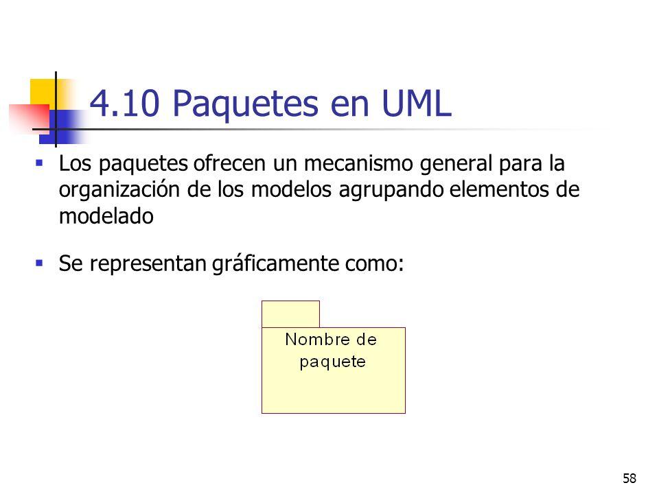 58 4.10 Paquetes en UML Los paquetes ofrecen un mecanismo general para la organización de los modelos agrupando elementos de modelado Se representan g