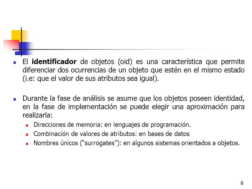 6 El identificador de objetos (oid) es una característica que permite diferenciar dos ocurrencias de un objeto que estén en el mismo estado (i.e: que