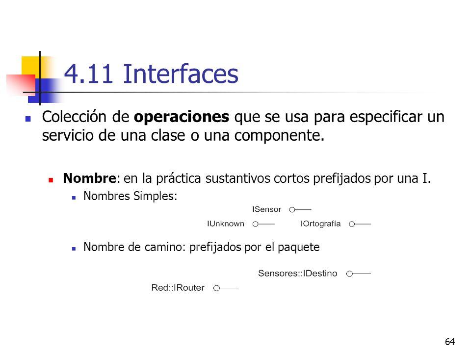64 4.11 Interfaces Colección de operaciones que se usa para especificar un servicio de una clase o una componente. Nombre: en la práctica sustantivos