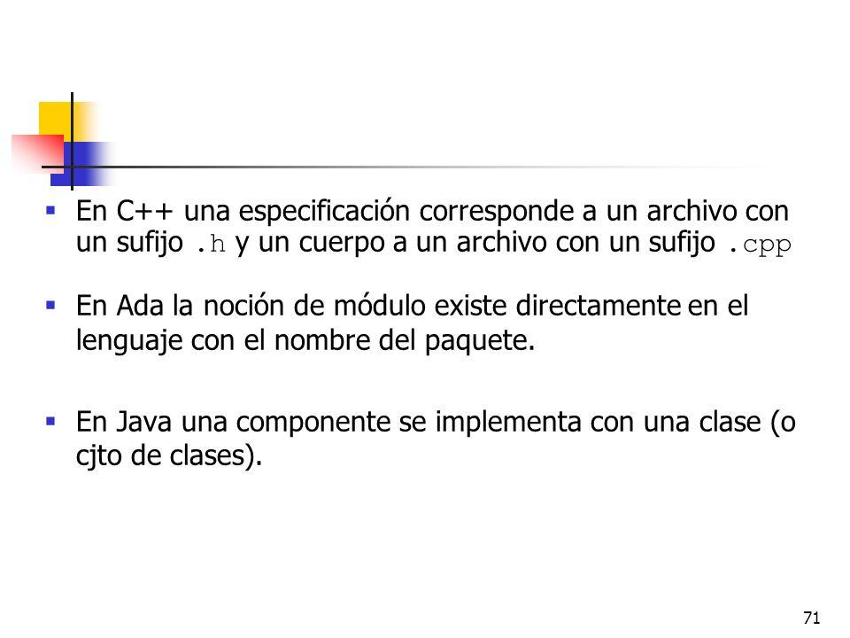 71 En C++ una especificación corresponde a un archivo con un sufijo.h y un cuerpo a un archivo con un sufijo.cpp En Ada la noción de módulo existe dir