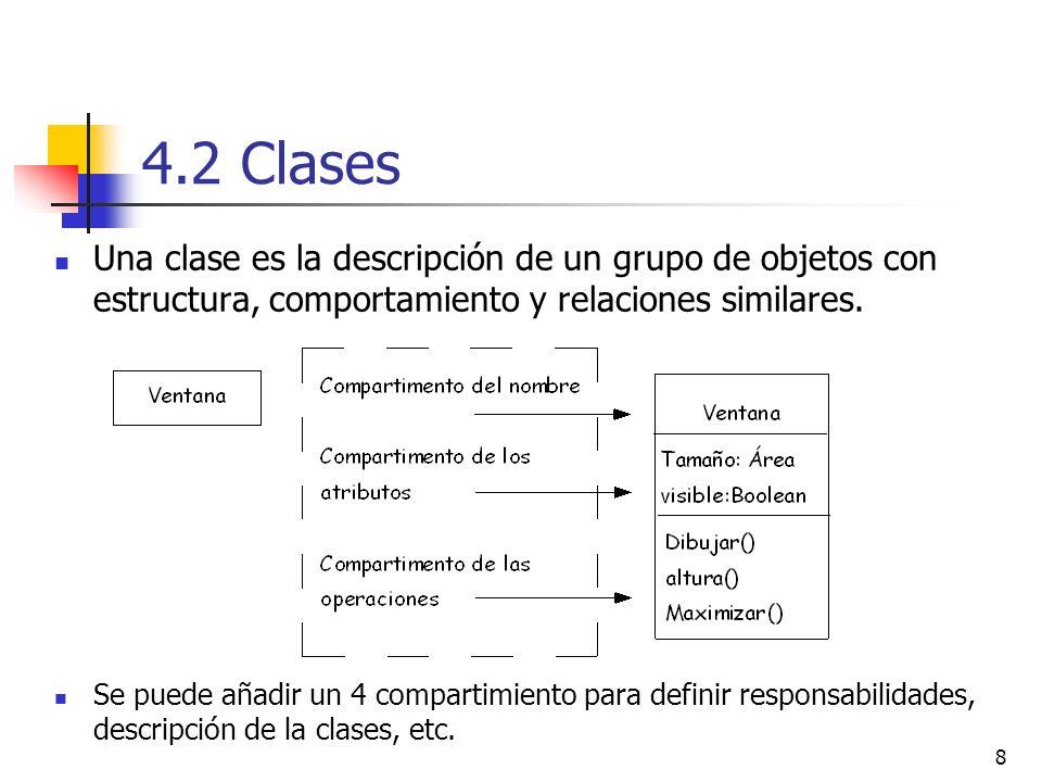 8 4.2 Clases Una clase es la descripción de un grupo de objetos con estructura, comportamiento y relaciones similares. Se puede añadir un 4 compartimi