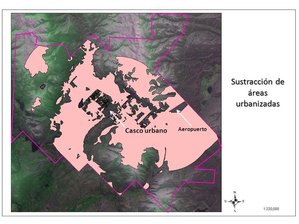 Sustracción de áreas urbanizadas Casco urbano Aeropuerto