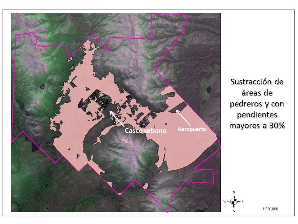 Sustracción de áreas de pedreros y con pendientes mayores a 30% Casco urbano Aeropuerto