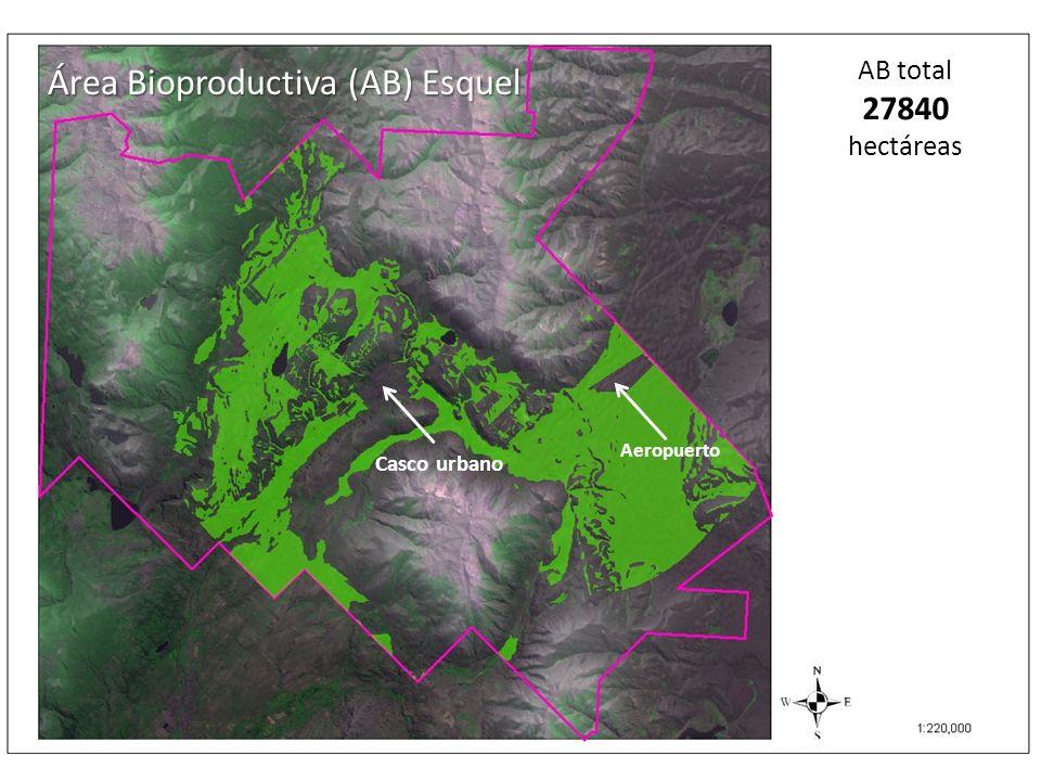 Área Bioproductiva (AB) Esquel AB total 27840 hectáreas Casco urbano Aeropuerto