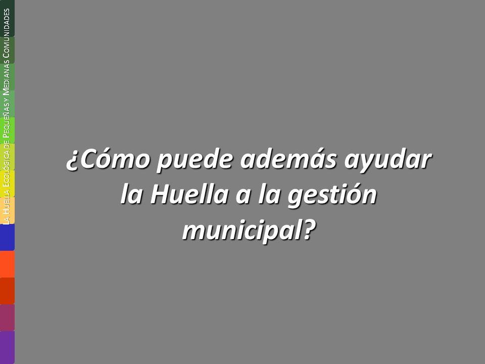 ¿Cómo puede además ayudar la Huella a la gestión municipal.