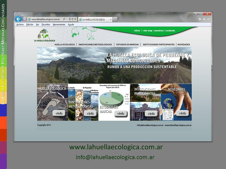www.lahuellaecologica.com.ar info@lahuellaecologica.com.ar L A H UELLA E COLÓGICA DE P EQUEÑAS Y M EDIANAS C OMUNIDADES
