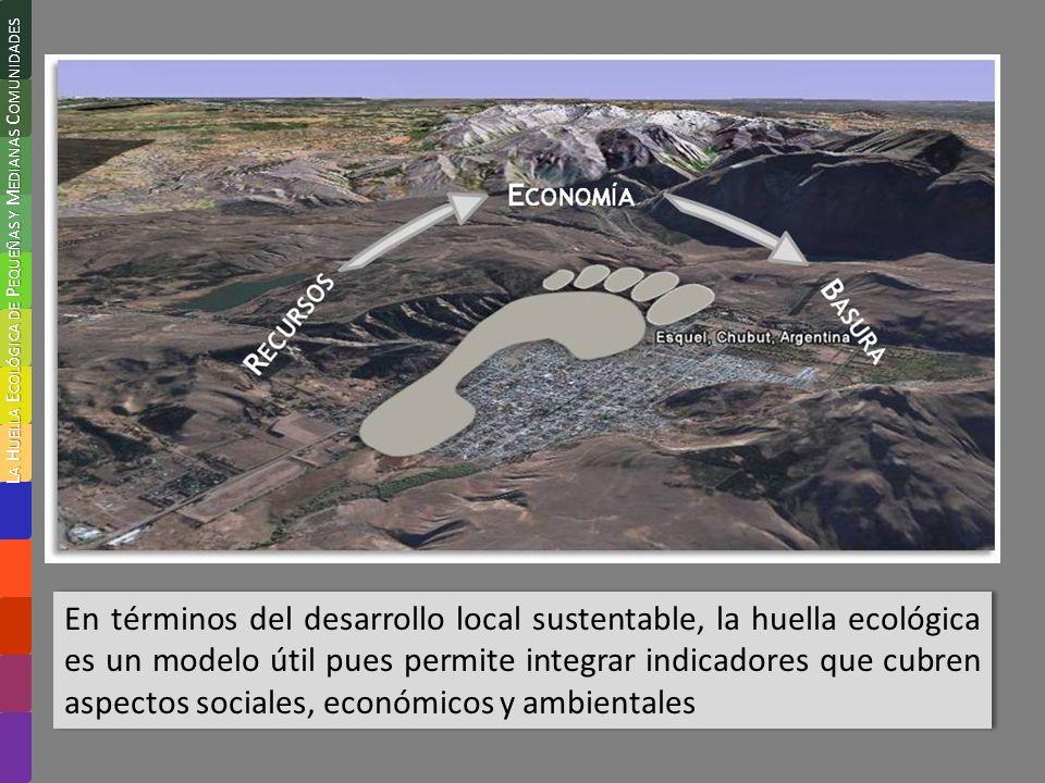 En términos del desarrollo local sustentable, la huella ecológica es un modelo útil pues permite integrar indicadores que cubren aspectos sociales, económicos y ambientales L A H UELLA E COLÓGICA DE P EQUEÑAS Y M EDIANAS C OMUNIDADES
