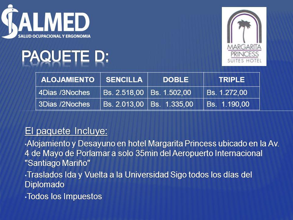 El paquete Incluye: Alojamiento y Desayuno en hotel Margarita Princess ubicado en la Av. 4 de Mayo de Porlamar a solo 35min del Aeropuerto Internacion