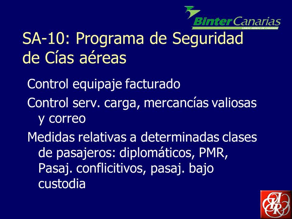 SA-10: Programa de Seguridad de Cías aéreas Control equipaje facturado Control serv. carga, mercancías valiosas y correo Medidas relativas a determina