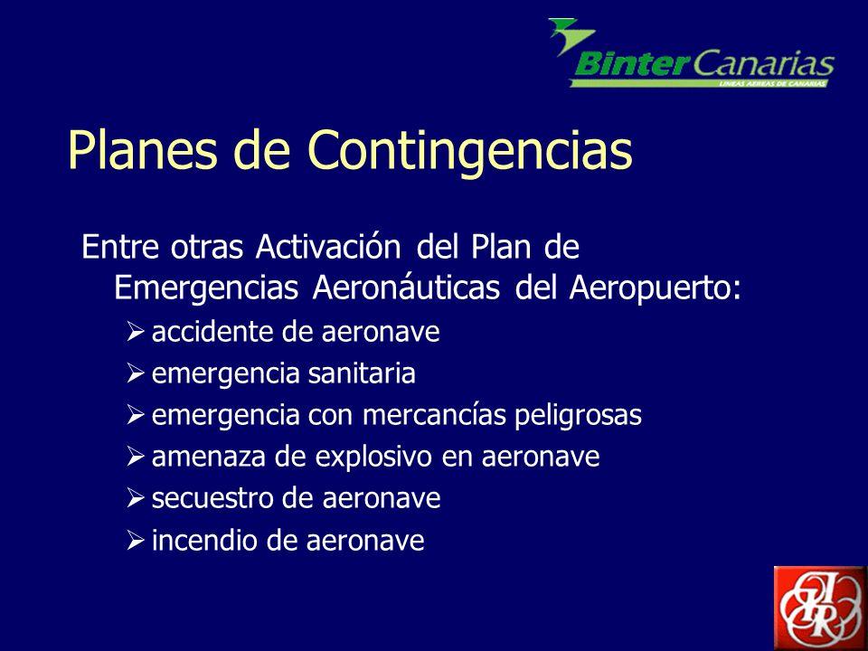 Planes de Contingencias Entre otras Activación del Plan de Emergencias Aeronáuticas del Aeropuerto: accidente de aeronave emergencia sanitaria emergen