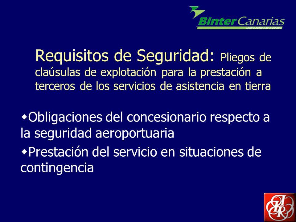 Obligaciones del concesionario: seguridad aeroportuaria NORMATIVA: Reglamento CE 2320/2002: Normas comunes para la seguridad de la aviación civil Reglamento CE 68/2004: medidas para la aplicación de las normas comunes de la seguridad aérea