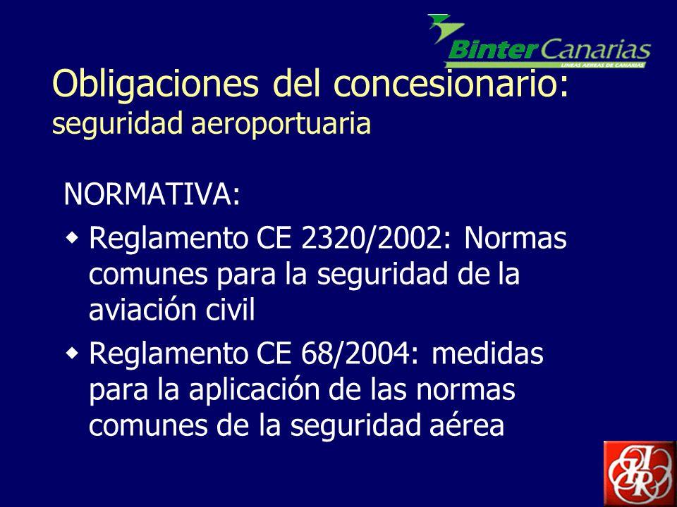 Obligaciones del concesionario: seguridad aeroportuaria Reglamento CE 1138/2004: definición común de las zonas críticas y restringidas de seguridad de los aeropuertos Ley 21/2003 de Seguridad aérea Programa Nacional de Seguridad para la aviación civil (PNS).