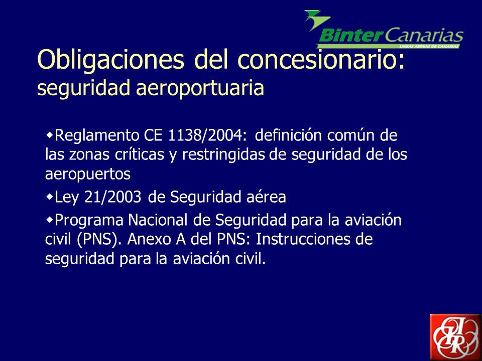 Obligaciones del concesionario: seguridad aeroportuaria Programa Nacional de Control de Calidad Programa Nacional de Formación de Seguridad de la Aviación Civil Ley 23/1992 de 30 de Julio, de Seguridad Privada