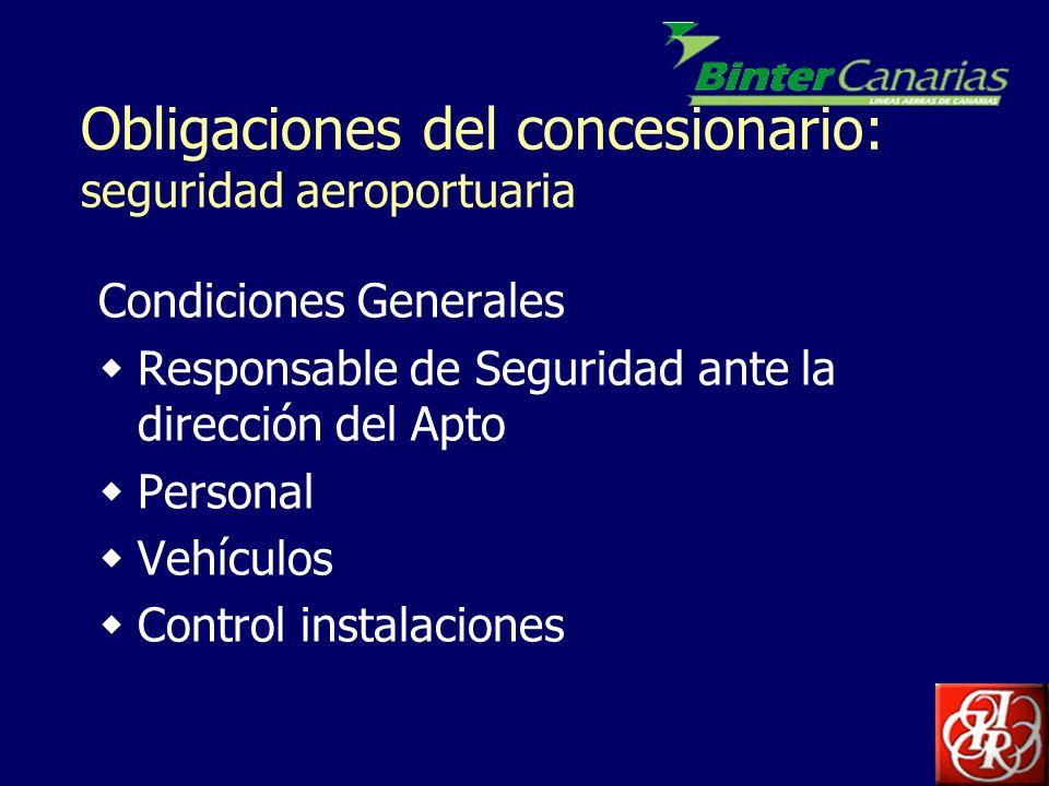 Obligaciones del concesionario: seguridad aeroportuaria Condiciones Generales Responsable de Seguridad ante la dirección del Apto Personal Vehículos C